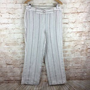 Chico's Cream Striped Linen Pants Size 1.5 Medium